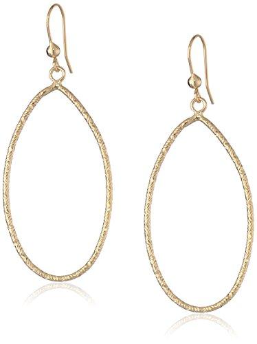 14k Yellow Gold Diamond-Cut Oval Hoop Earrings with Shepherd's Hook