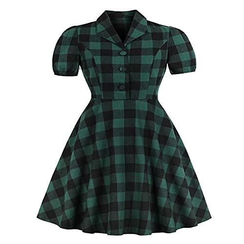 YLDCN Faldas para Niña Vestido Vintage De Cuadros Vichy para Mujer, Bata Abotonada, Vestidos De Bolsillo A Cuadros, como Se Muestra