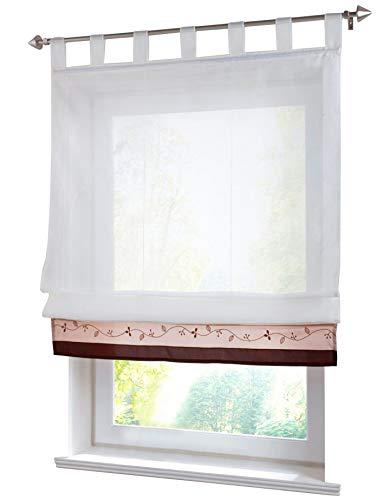 LiYa 1 Stück Raffrollo mit Stickerei Schlaufen Raffgardine Transparent Voile Vorhang (BxH 80x155cm, Kaffeebraun)