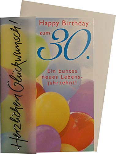 Geburtstagskarte zum 30. Geburtstag Basic Classic- Luftballons- 11,6 x 16,6cm