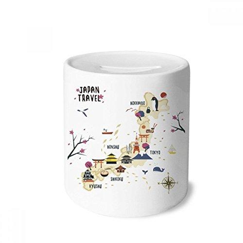 DIYthinker Lokale japanische Reisen Karte Geld-Kasten Sparkassen Keramik Münzfach Kinder Erwachsene 3.5 Zoll in Height, 3.1 Zoll in Duruchmesser Mehrfarbig