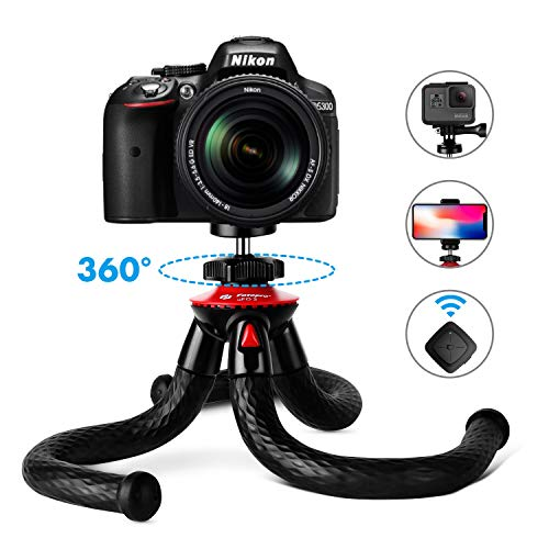 Tripods for Phone Fotopro Flexible Tripod with Bluetooth for iPhone 11 XSSamsung S9 Waterproof and AntiCrack Camera Tripod for GoPro 360 Degree Travel Tripod for Live Streaming Vlog Video