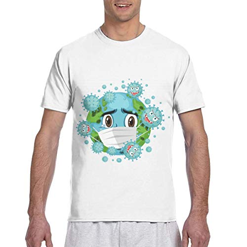 Coro-navi-rus Men's T Shirts Novelty Adult 3D Print Short Sleeve Shirt for Teen Boys Men Crew Neck Medium