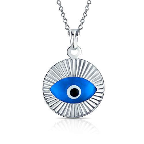 Bling Jewelry Türkische Schutz Runder Kreis Bewegen Blau Böse Auge Anhänger Charm Kette Mit Anhänger Für Damen Sterling Silber