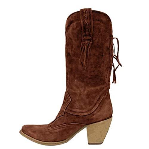 LYYJF Las Mujeres De Estilo Étnico Mediados Botas De Tubo De Tacones Altos Caliente Botas De Piel Tacón De Gamuza Largo Flecos Zapatos De Invi, marrón, 42 EU