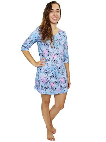Disney Lilo & Stitch Women s 3 4 Sleeve Dorm Nightgown Pajamas (Large, Blue)