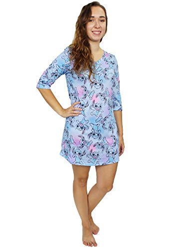 Disney Lilo & Stitch Women's 3/4 Sleeve Dorm Nightgown Pajamas (Large, Blue)