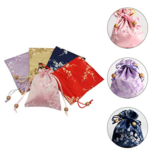 Cabilock 5pcs Brocade Jewelry Pouches Plum Blossom Wedding Drawstring Candy Bags Favor Pouch Drawstring Goodie Holder Jewelry Pouches for Baby Shower Chinese Banquet Candy Bags