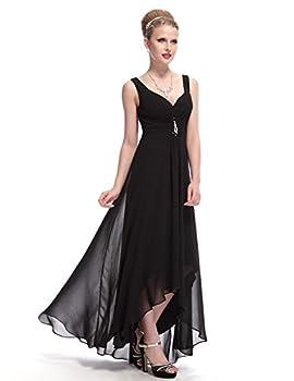 Ever-Pretty Juniors V-Neck Long High Low Prom Dress 14 US Black