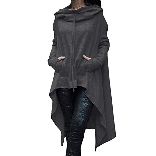 S.CHARMA Sudadera con capucha para mujer, de manga larga, irregular, estilo casual, con capucha