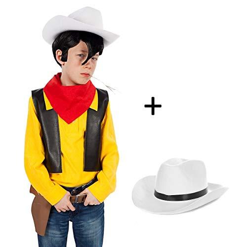 Maskworld Lucky Luke Kinderkostüm mit Cowboy-Hut - Comic Western Kostüm für Kinder 5-teilig - Karneval (134-140)