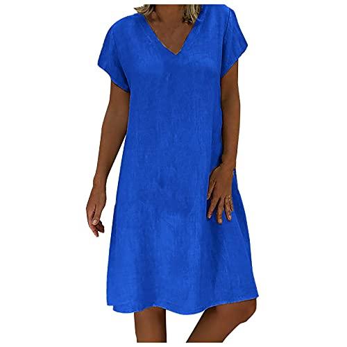 DANWAN Sommerkleid Damen Leinen V-Ausschnitt Strandkleider Einfarbig A-Linie Kleid Boho Knielang Kleid Ohne Zubehör 010-Blau M