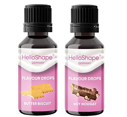 Flavour Drops zuckerfrei Set 2x 30 ml - Butterkeks & Nuss Nougat | Geschmackstropfen OHNE KALORIEN zum Süßen mit Dosierhilfe | vegan | Für Naturjoghurt, Porridge oder Quark - Hello Shape