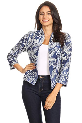 Pattern Basic Casual Open Front Long Sleeve Outerwear Blazer Jacket/Made in USA Embossed Blue L