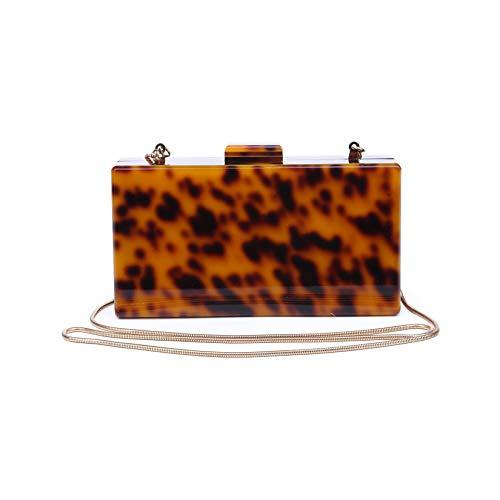 Funky Junque's Square Box Clutch Chain Strap Crossbody Geldbörse Abendtasche, (tortoiseshell), Einheitsgröße