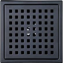 6-inch Shower Drain, Square Floor Drain with Tile Insert Grate Removable, Multipurpose Hair Trap, Invisible Look or Flat Cover, SUS304 Stainless Steel, Black