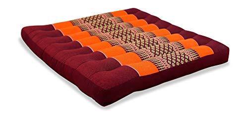 livasia Sitzkissen Stuhlauflage groß I Bodenkissen Indoor / Outdoor I Meditationskissen Yogakissen I Stuhlauflage für Palettenmöbel I Steppkissen für Stuhl und Bank 50 x 50 x 6,5 cm (Orange)