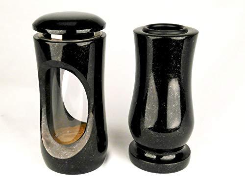 Designgrab Design SS1 Petite lampe funéraire avec vase en granit suédois Noir
