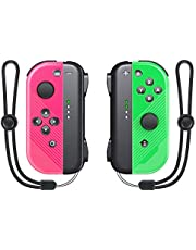 VIVEFOX Joy Pad Controller Replacement for Switch/Switch Lite, L/R Wireless Joy Pad with Wrist Strap, Alternatives Joy Controller Gamepad, Wired/Wireless Switch Remotes - Neon Pink/Green
