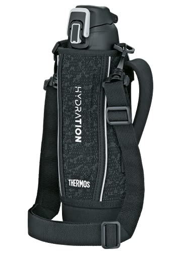 THERMOS Thermosflasche Edelstahl Ultralight, schwarz 1L, Isolierflasche mit Hülle und Tragegurt, extrem leicht, Trinkflasche 4045.232.100 spülmaschinenfest, Thermoskanne hält 10 Stunden heiß, BPA-Free