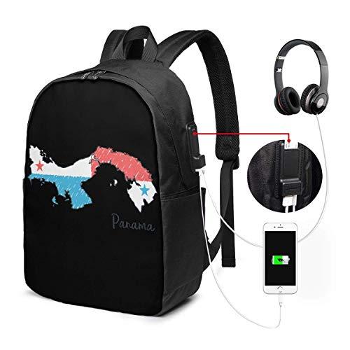 RROOT Root Unisex Rucksack mit USB-Ladeanschluss, Panama-Karte mit Flagge, klassisch, modisch, für Business