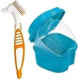 plastica dentale caso - cura protesi dentarie porta apparecchio denti protesi di tazza con filtro per protesi, dentiere da bagno,contenitore per protesi dentarie bagno deture fermo per pulizia