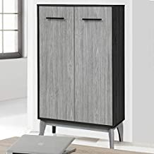 Maison Concept Vista Cabinet, Black and Grey - H 1200 x W 340 x D 800 mm