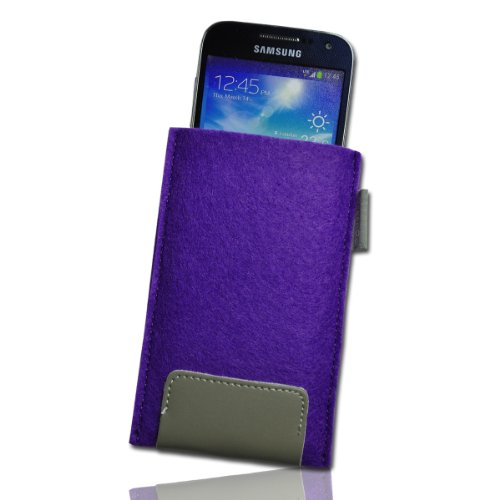 Handy Tasche Einschubtasche Etui Hülle Case lila / violett / grau W15 Gr.4 für Nokia Lumia 900 / Huawei Ascend D quad / Huawei Ascend D quad XL / Sony Xperia Ion / Huawei U9200 Ascend P1 / Samsung Galaxy S2 i9210 LTE / Samsung Galaxy Nexus / Base Lutea 2 - 3