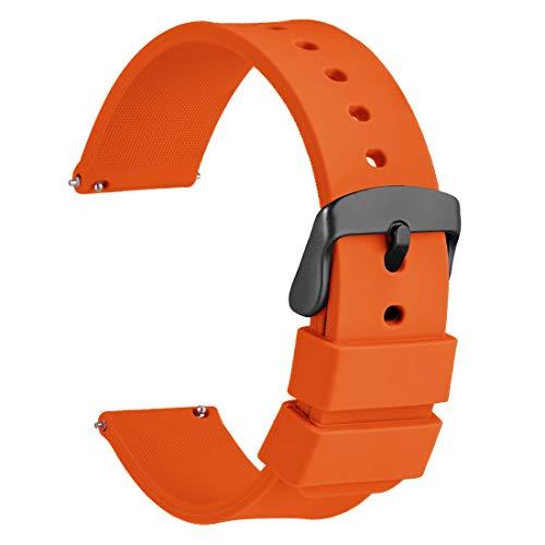 WOCCI 22mm Silikon Gummi Uhrenarmband mit Schwarzer Schnalle, Schnellverschluss Ersatzarmband(Orange)