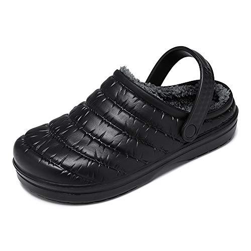 [VILOCY] [ビロシー] メンズ レディース クロッグサンダル ルームシューズ スリッパ ボア付き 防水 冬用 室内履き ブラック 40