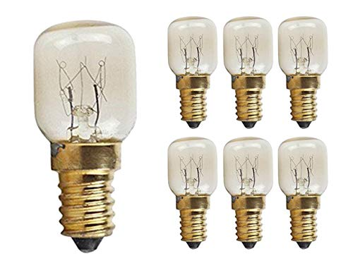 CTKcom 15W T22 E14 Base Oven Light Bulbs(6 Pack)- T22 Microwave Light Bulbs 120V Heat Resistant Bulbs 300'C,Warm White Incandescent Light Bulb 360° Beam Angle,110-130V,6 Pcs