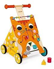 Janod Drewniany kot wyprowadzający aktywność – zabawka przesuwana z hamulcem i regulowanym uchwytem na wysokość – pierwsze kroki, nauka chodzenia – od 12 miesięcy, J08005