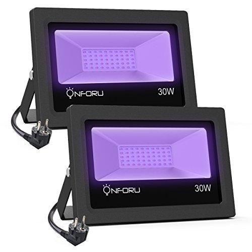 Onforu 2er 30W LED Schwarzlicht Strahler, UV Fluter IP66 Wasserdicht, Schwarzlichtlampe mit Stecker, Fluoreszenz Blacklight, UV Scheinwerfer Beleuchtung Lampe für Party, Bar, Aquarium, Neonfarben