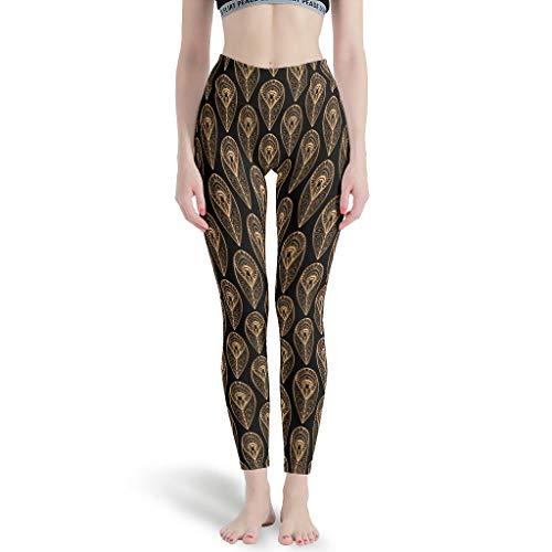 Knowikonwn - Leggings finos Mujeres, Capris diseño de plumas de yoga Capris impreso pantalones de yoga para mujer alto blanco m