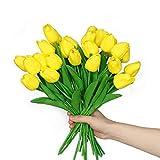anaoo 24 Pezzi Bouquet di Tulipani Fiori in Lattice, Fiori Artificiali per Nozze, DIY Feste Natale Decorativi, Matrimoni, Decorazione per la Casa, Effetto Realistico, Giallo