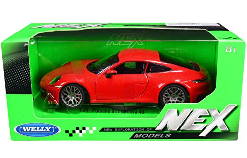 Porsche 911 Carrera 4S Red with Gray Wheels NEX Models 1/24 Diecast Model Car by Welly 24099