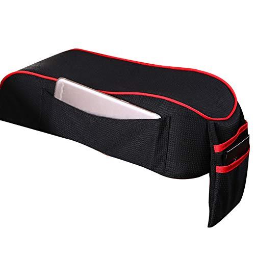 Gelentea Cojín para reposabrazos de coche, transpirable, con bolsillos de almacenamiento para teléfono móvil, consolas centrales, reposacabezas y cuello, almohadilla para conducir