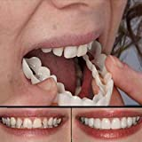Mltdh 1 Pairs Perfect Smile Teeth Comfort Fit Snap on Flex Fits Most Comfortable False Teeth Upper and Bottom Fake Tooth One Size Non-Toxic, Healthy and Safe to Use