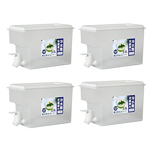 1-4 Piezas de hervidor de Agua fría con Grifo, dispensador de Bebidas Reutilizable, frigorífico de Gran Capacidad de 3,5 l, Jarra de Agua Helada, Tetera de Frutas, Cubo de Limonada (Color : 4 Pcs)
