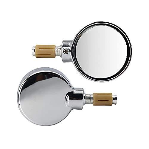 1 par de espejos retrovisores de extremo de barra de manillar de 18 mm para motocicleta universales espejos retrovisores laterales plegables redondos de aluminio-plata