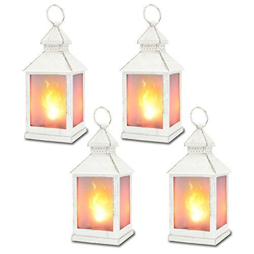 zkee 11' Vintage Style Decorative Lantern,Flame Effect LED Lantern,(White,4 Hours Timer), Indoor Lanterns Decorative,Outdoor Hanging Lantern,Decorative Candle Lanterns (Set of 4)
