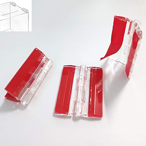 Paquete de 3 bisagras de plástico transparente de 45 mm para piano continuo, autoadhesivas, aptas para cajas transparentes, expositores,...