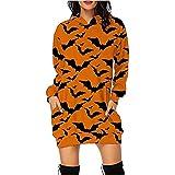 LEXUPA Women's V Neck Tunic Dress Long Sleeve CasualWomen's Halloween Pumpkin Printed Long Sleeve Hooded Pullover Dress Tops