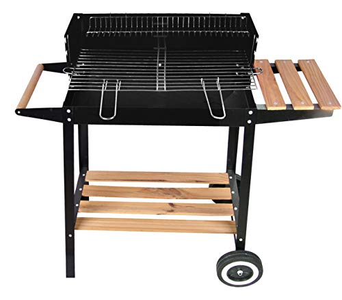 Savino Fiorenzo Barbecue braciere Portatile in Metallo Ferro e Acciaio a Legna e carbonella BBQ Carrello Grill