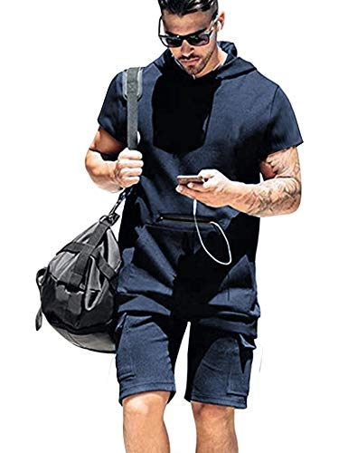COOFANDY Men's Athletic Outfit Fitness Short Sleeves Hoodies and Running Shorts