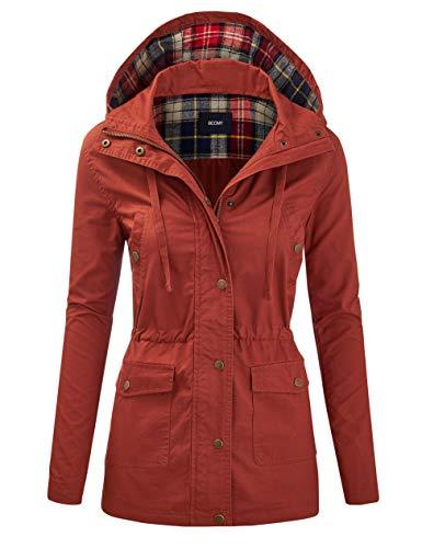 FASHION BOOMY Women's Zip Up Safari Military Anorak Jacket with Hood Drawstring - Regular and Plus Sizes - Orange - Medium