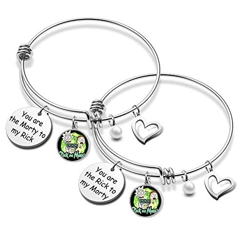 Pulsera de regalo de Best Friend You Are The Morty To My Rick, regalo para mujeres, joyería de la amistad, regalos de anime