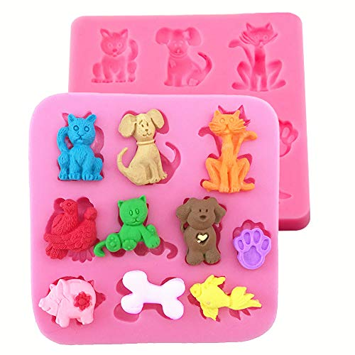 HengKe 2 Pcs Cats Dogs Foxes Silicone Molds Of Various Cartoon Animal Shapes Food Grade Cake Molds for Fondant, Candy, Icing, Biscuit Decor, Chocolate, Polymer Clay Bake Ware Baking Tools