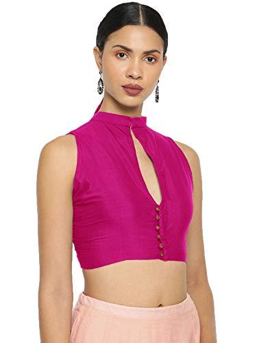 asoita Women Designer Front Open Non Padded Blouse Dupion Silk Goli Button Collar Neck Design Sari Lehenga Designer Plane Blouse (Magenta, 36/S)