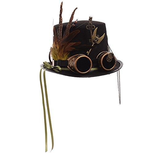 GRACEART Unisexo Steampunk Sombrero Gafas de protección Sombrero de Copa (Circunferencias de la cabeza-58cm)